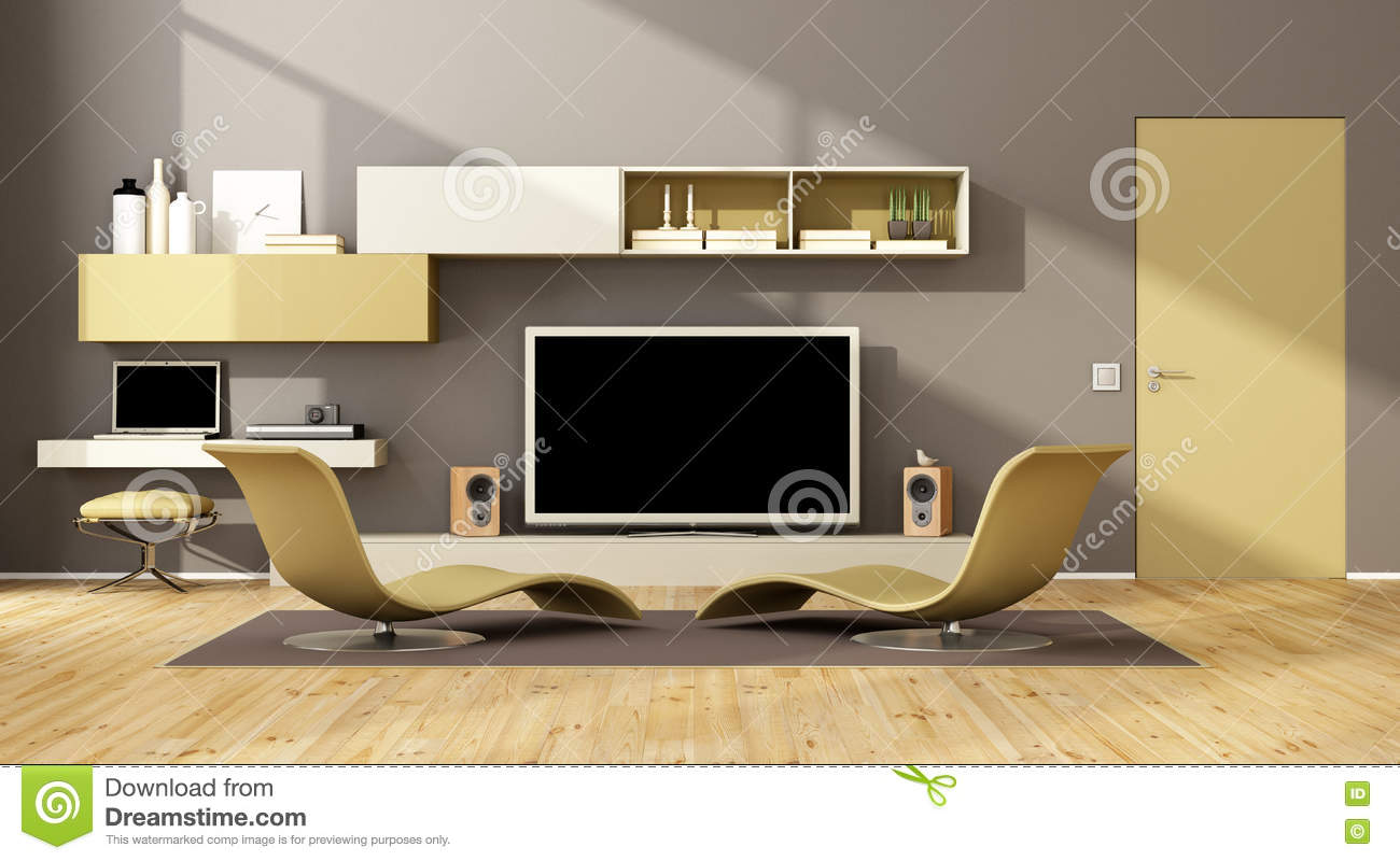 gray sofa with chaise lounge used castro convertible bed contemporary tv set stock illustration - image ...