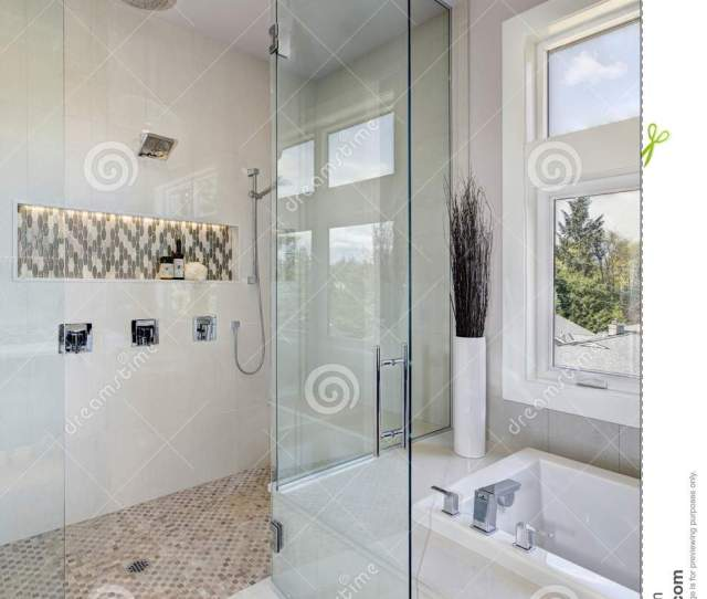 Contemporary Master Bathroom Features Glwalk In Shower Drop In Tub With A Perfect Window View Northwest Usa