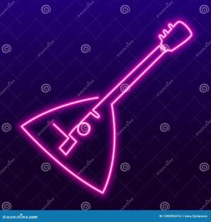 neon simple drawing line element bright icon balalaika semplice disegno continuous karaoke dell illustrazione elements ununterbrochenes eins einfache federzeichnung vektorillustration
