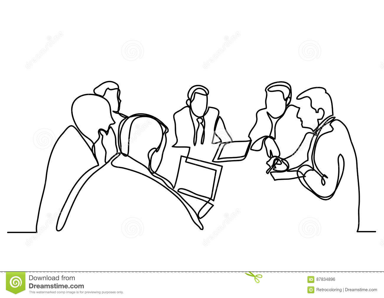 Continuous Line Drawing Of Business Meeting Stock Vector