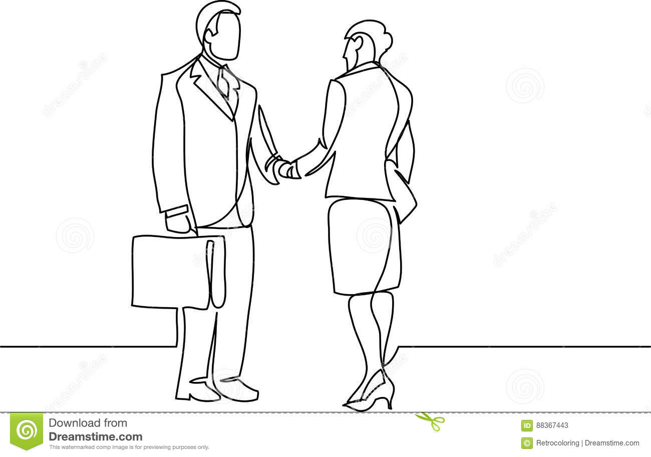 Handshake Of Man And Woman Vector Drawing Cartoon Vector