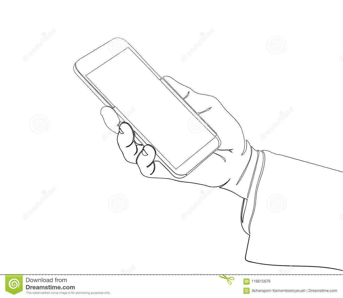 Continuous Line Drawing Of Finger Touch Smartphone