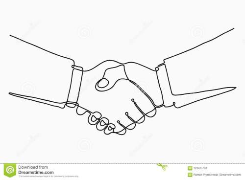 small resolution of continuous line drawing of handshake handshaking of business partners drawn by one single line