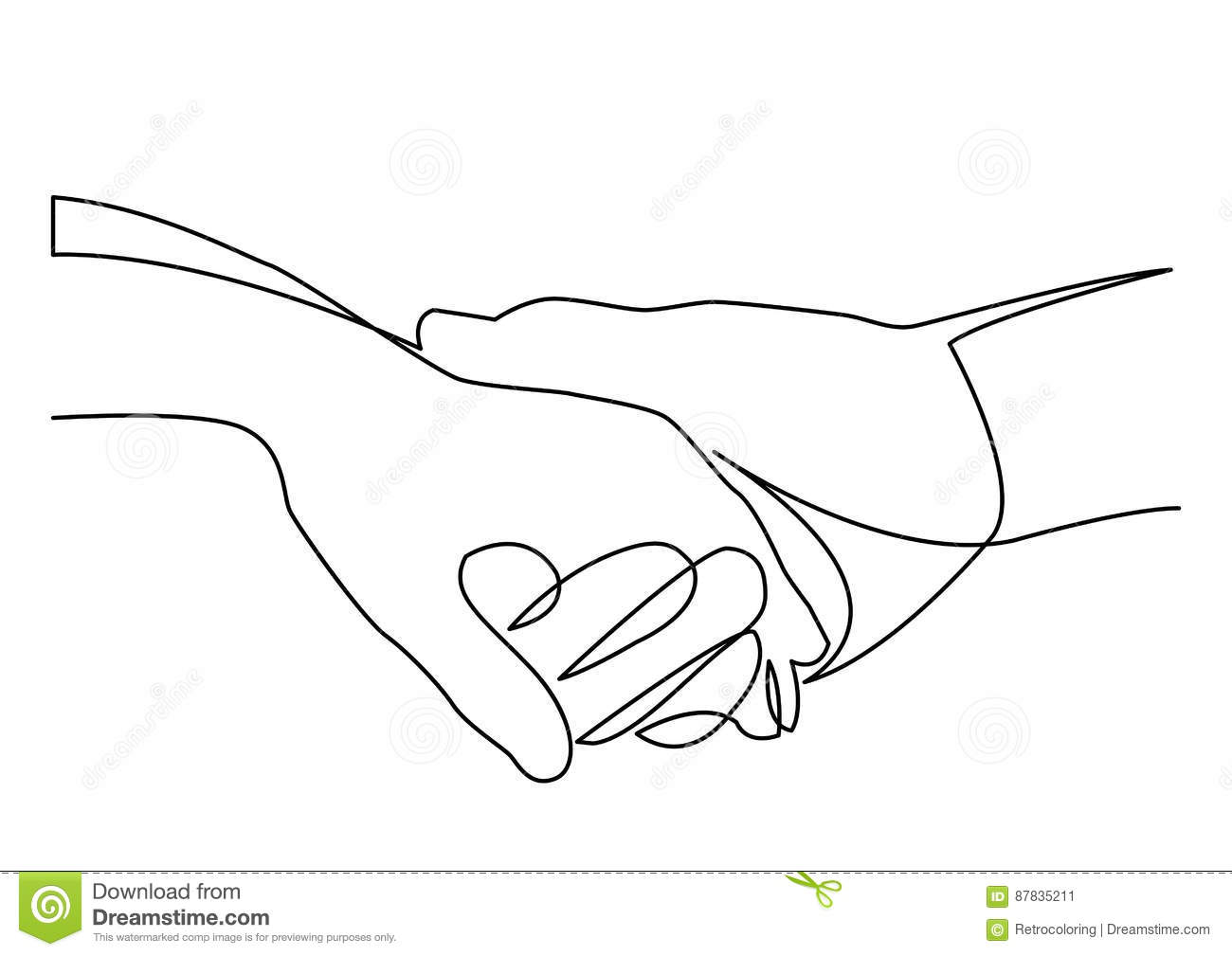 Continuous Line Drawing Of Holding Hands Together Stock