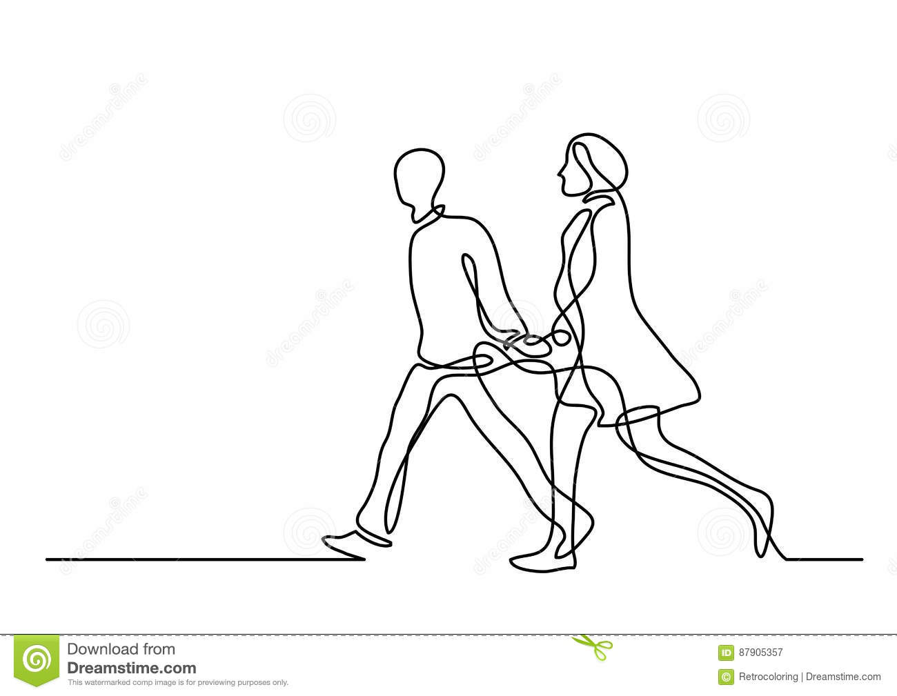 Continuous Line Drawing Of Walking Couple Stock Vector
