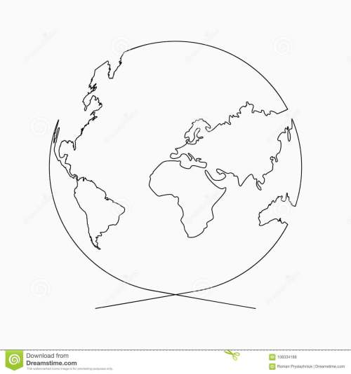 small resolution of continuous line globe planet of earth one line drawing hand drawn illustration for