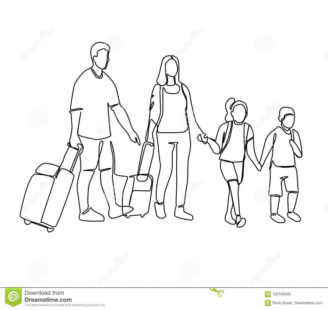 Continuous Line Parents With Children Travelling On