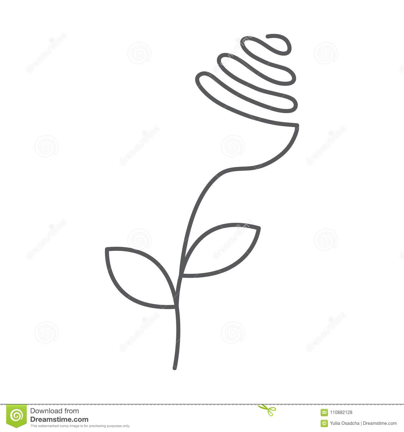 Continuous Line Rose With Leaves Abstract Modern