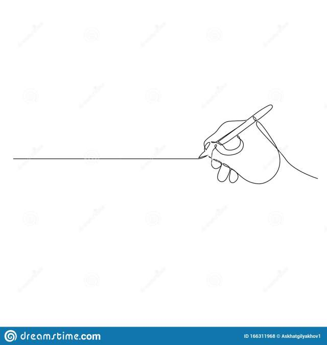 Continuous One Line Hand With Pen Write A Straight Line. Vector
