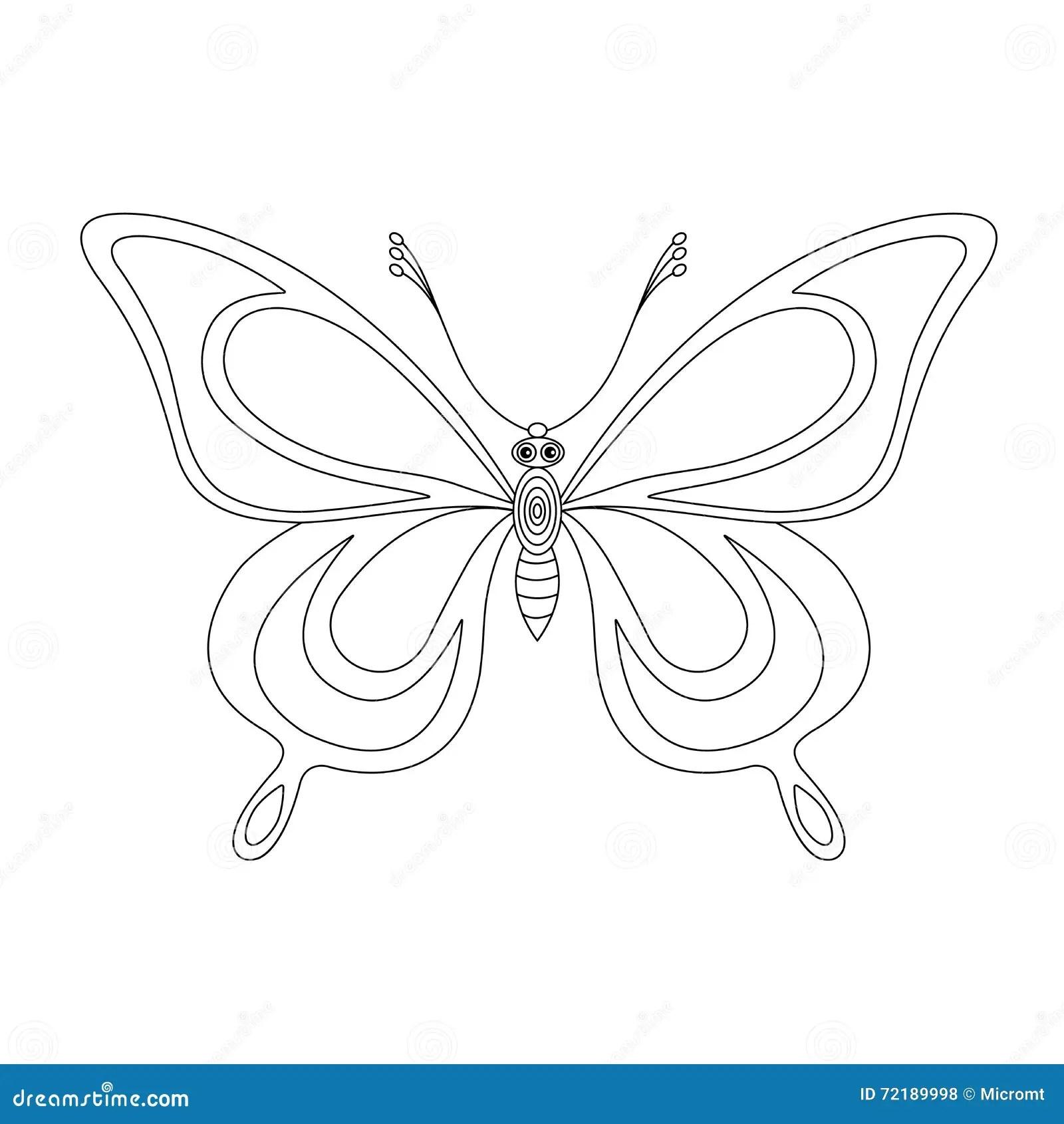 Contornos Del Monocromo De La Mariposa Ilustración del