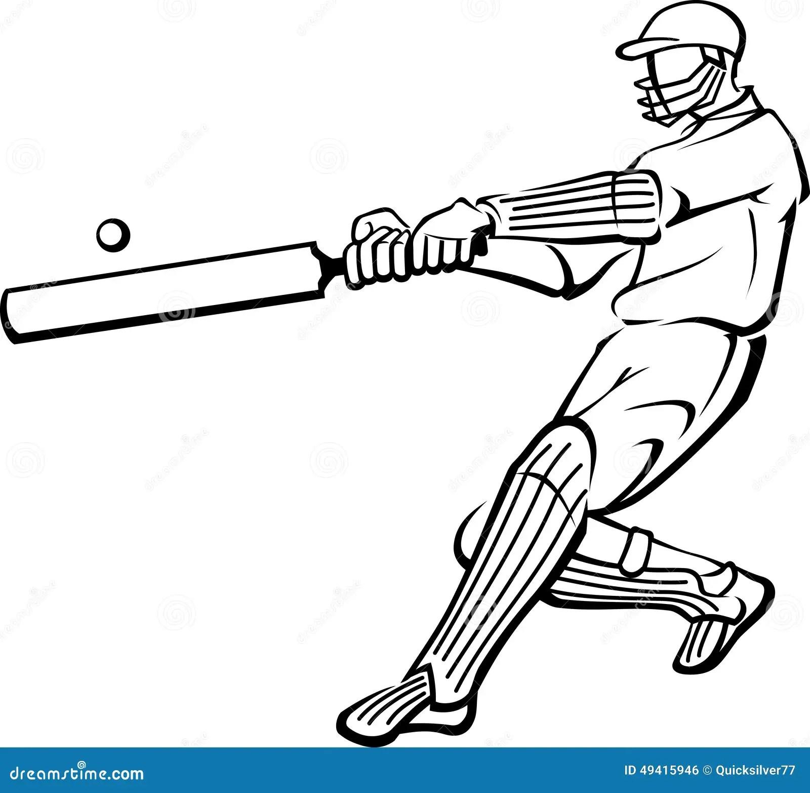Contour D'oscillation De Batte De Joueur De Cricket