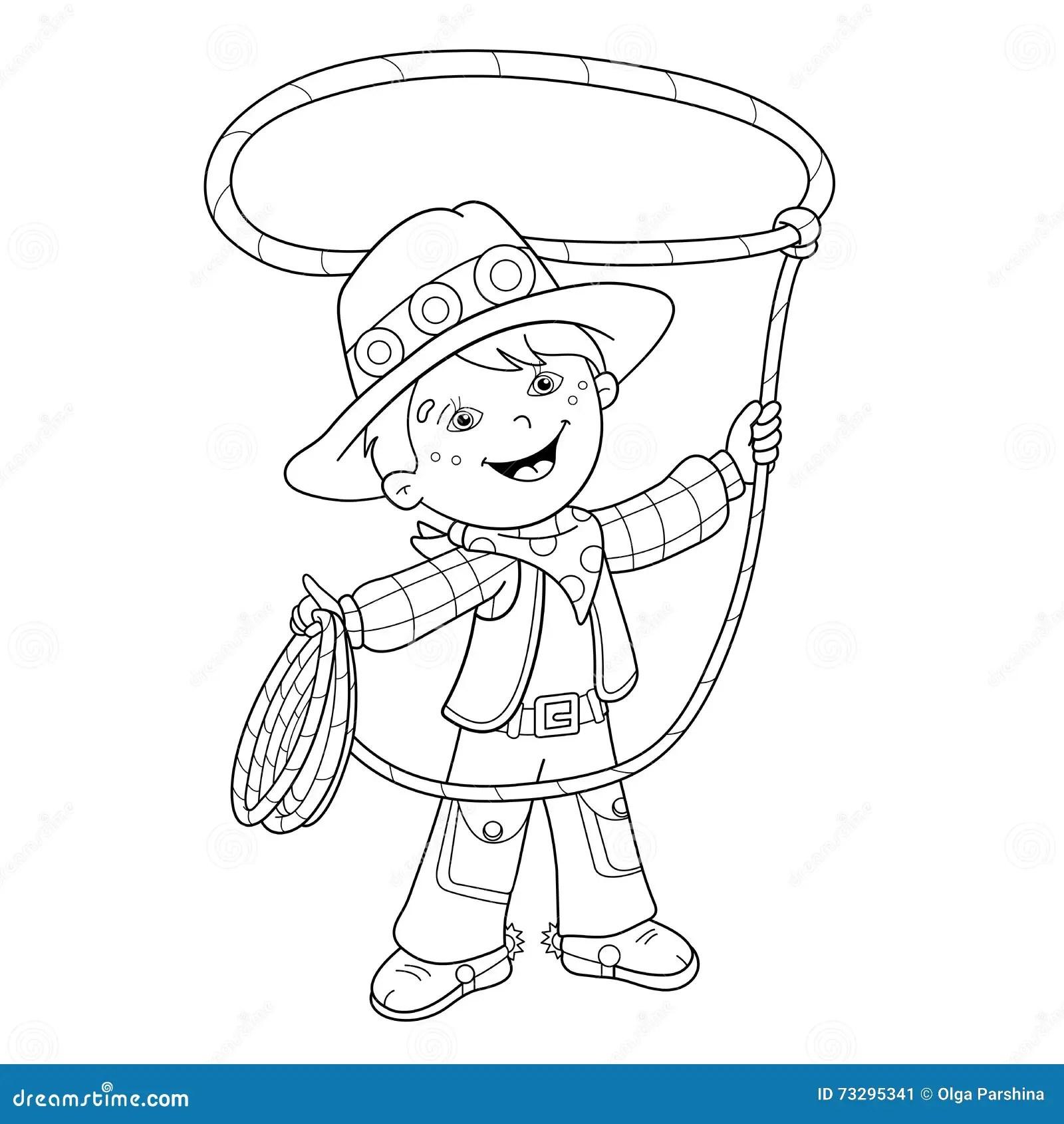 Contour De Page De Coloration De Cowboy De Bande Dessinee