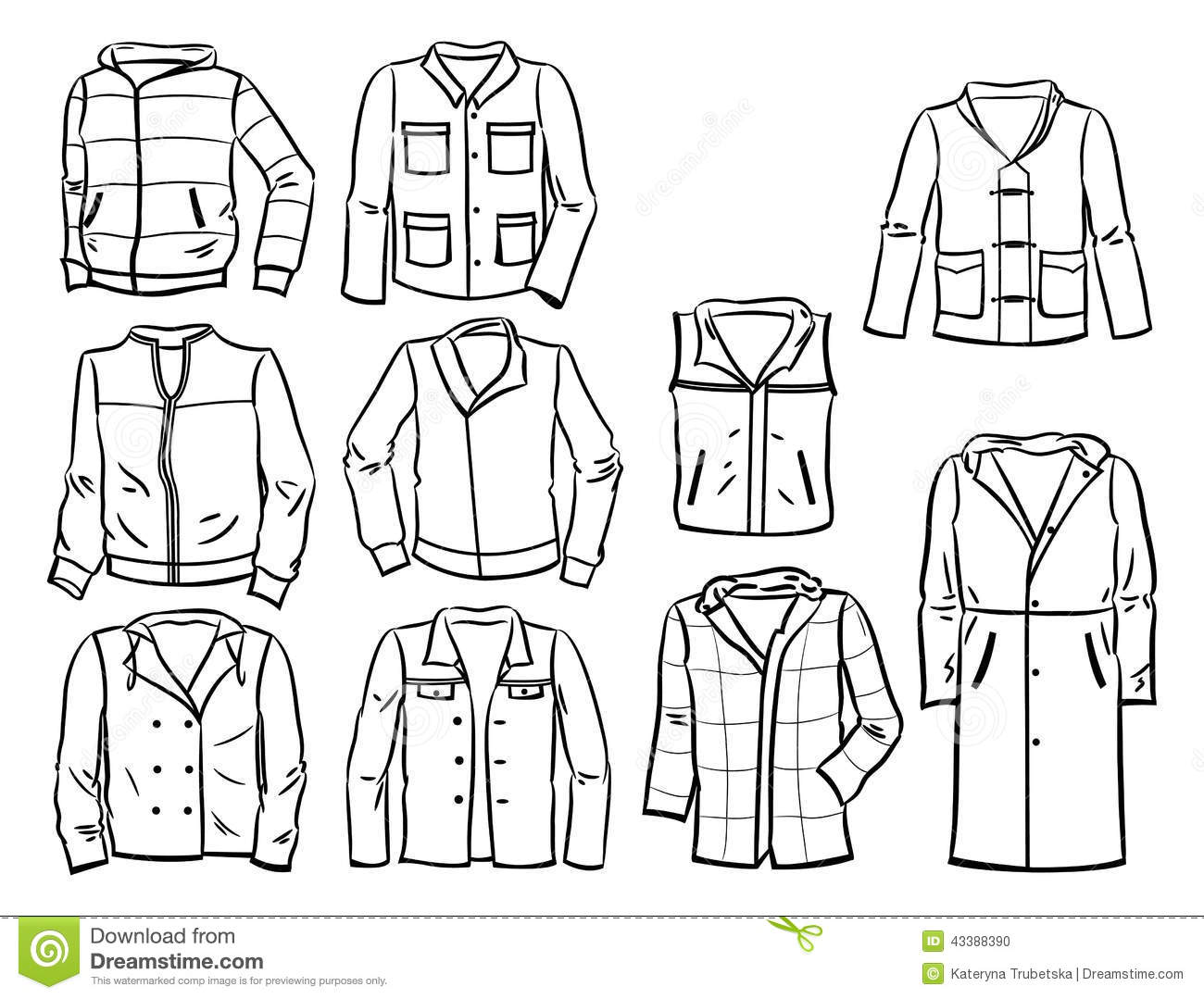 Contours Of Mens Jackets Stock Vector Illustration Of