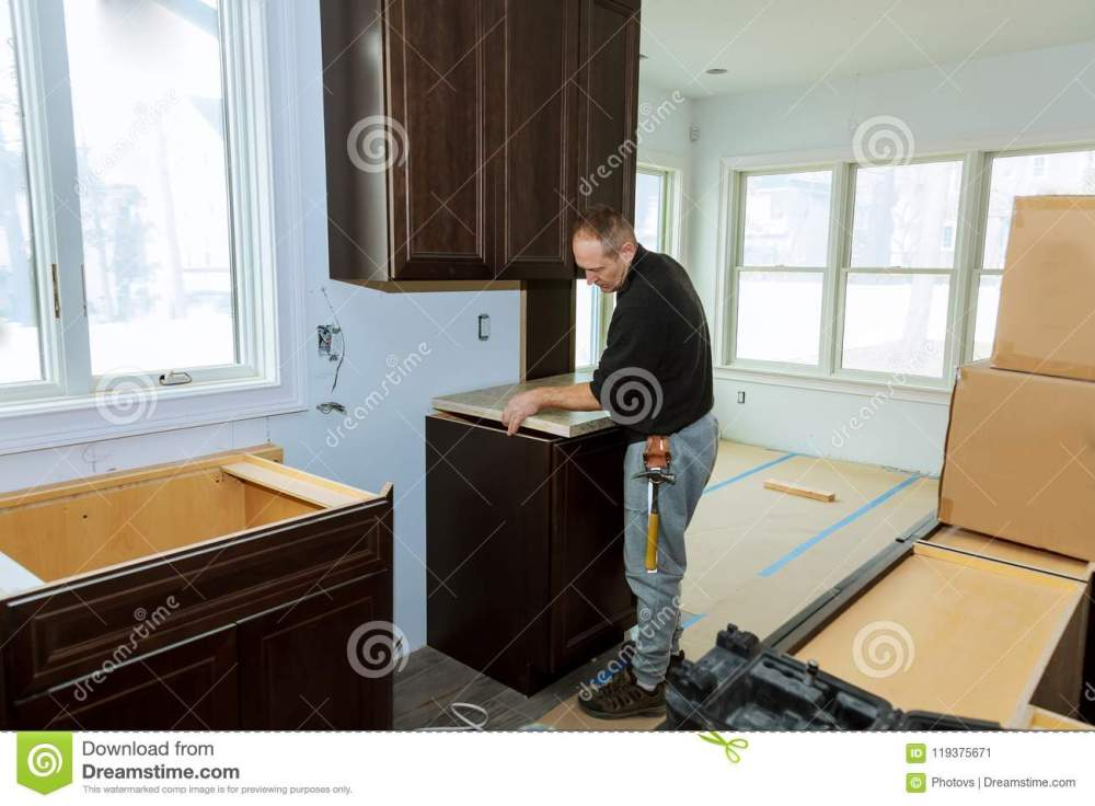 medium resolution of contractor installing a laminate counter top during a kitchen remodel