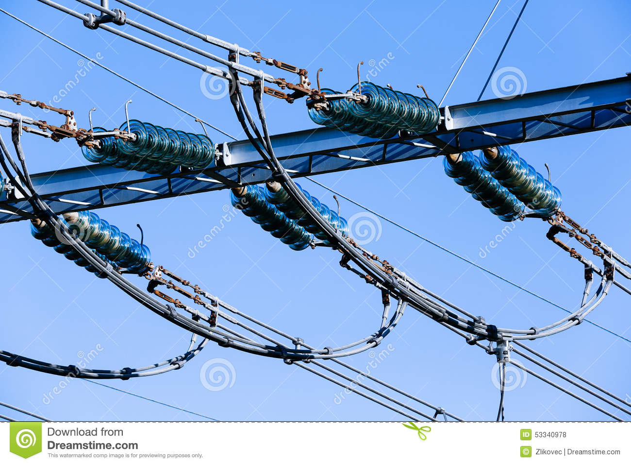 hight resolution of specialist electrical ceramic insulators on wiring in a converter station special type of transformer substation blue sky background power
