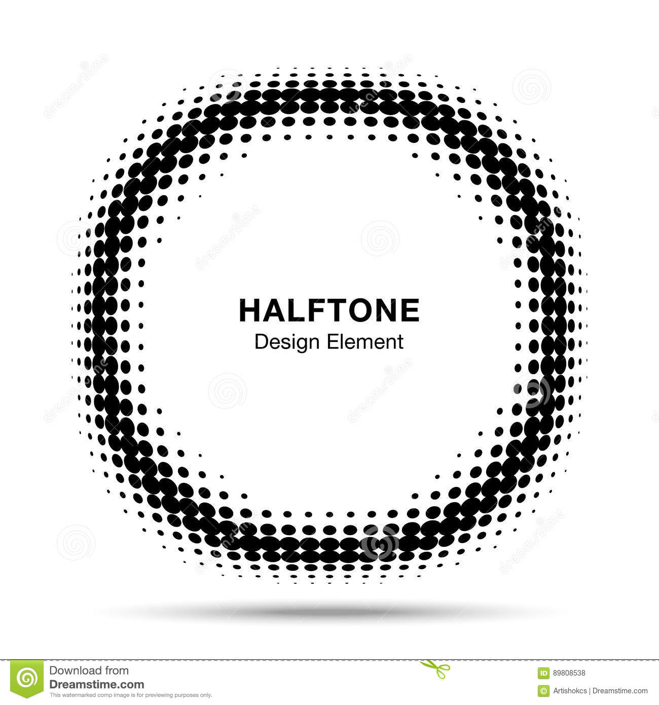 Convex Distorted Black Abstract Vector Circle Frame