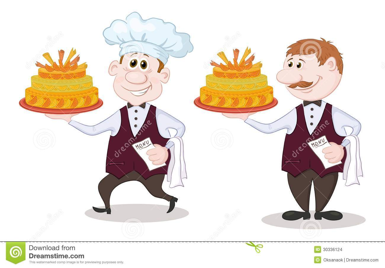 Cook And Waiter With Holiday Cakes Stock Vector Image