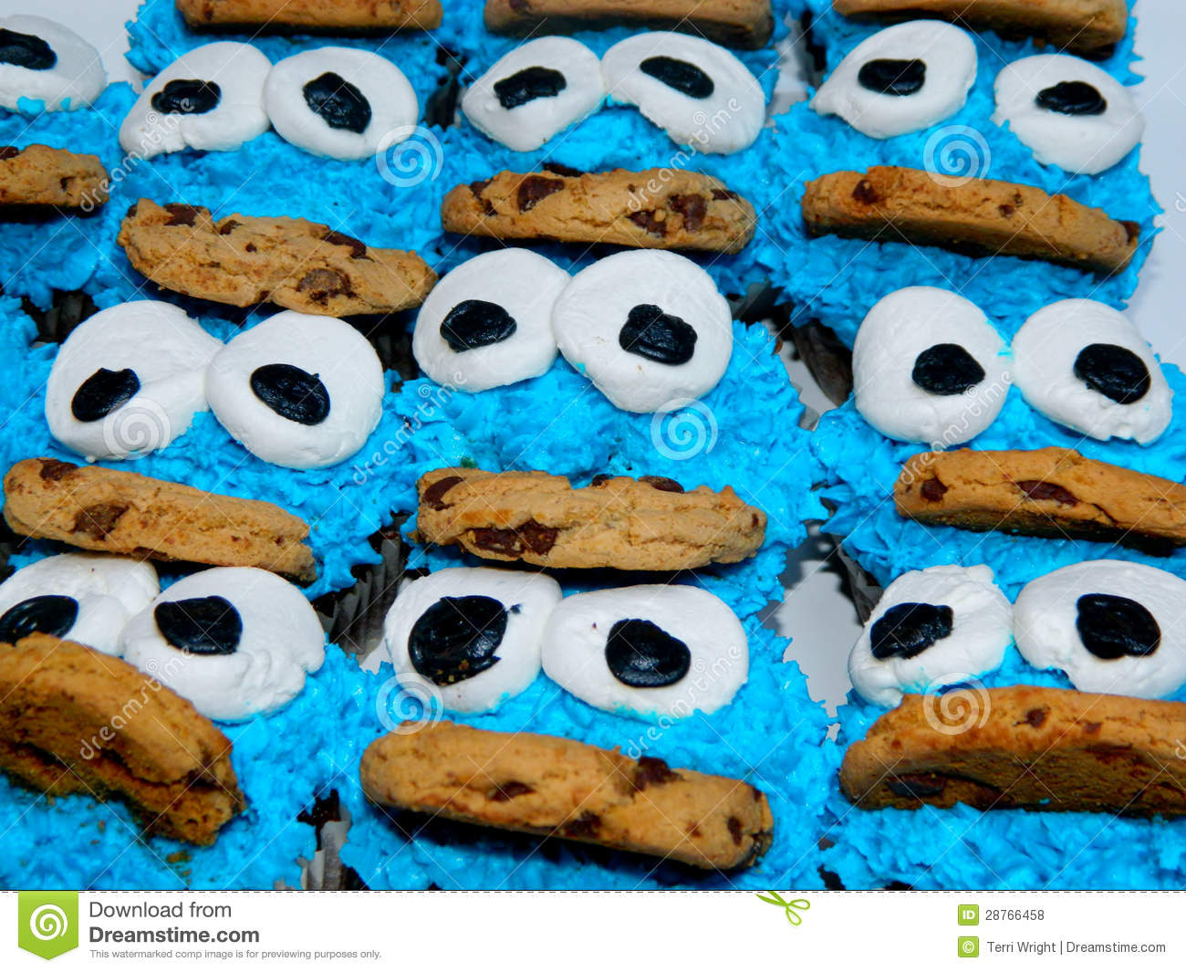 Cookie Monster Cupcakes Royalty Free Stock Photos Image