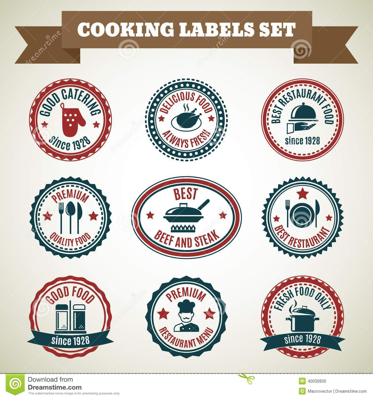 Cooking chef labels stock vector Illustration of design