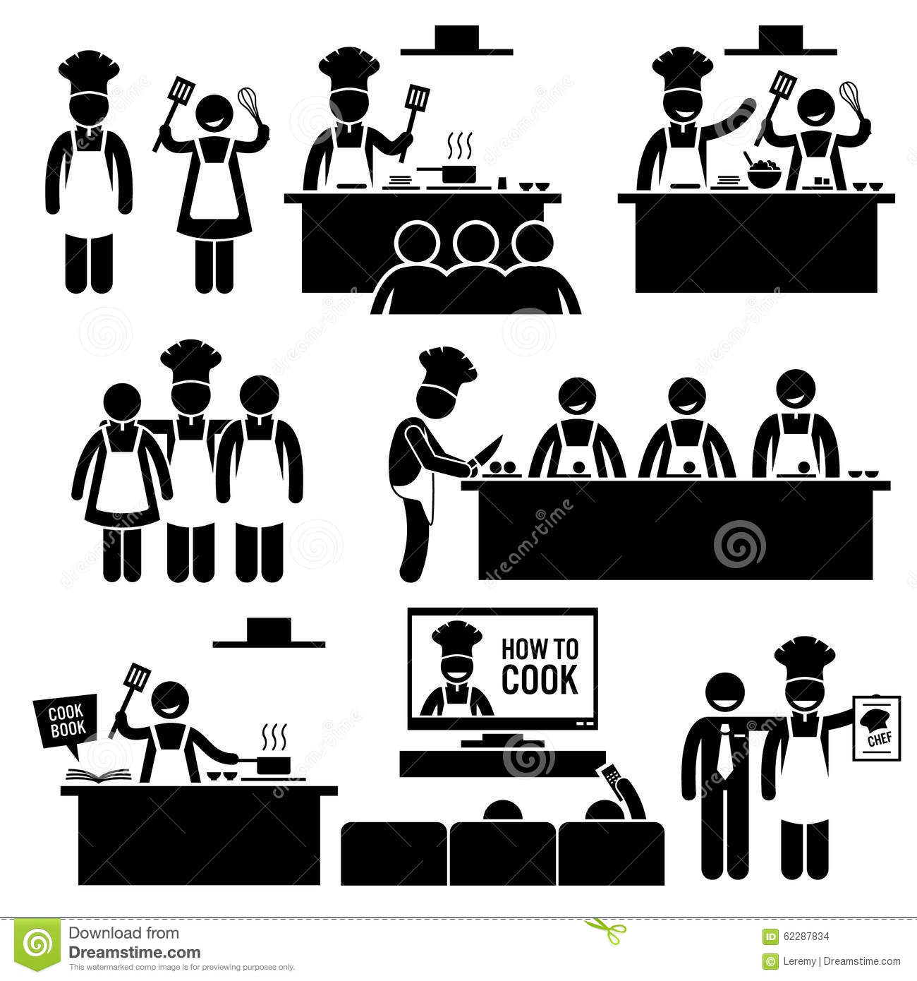 Cooking Class Chef Cook Clipart Stock Vector