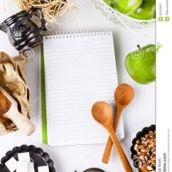 Kitchen Plans Indoor Garden Cooking Concept. Recipe Book And Ingredients For Apple ...