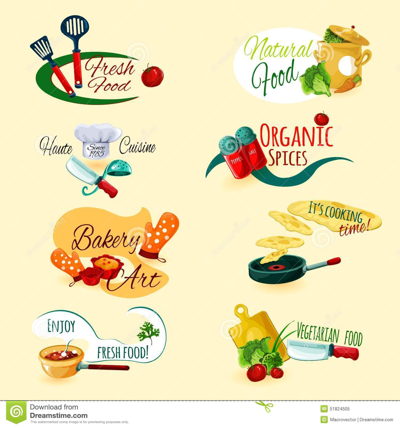 organic kitchen utensils undermount white sink cooking emblems set stock vector - image: 51824505