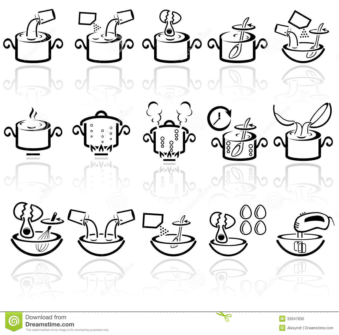 Cooking Instruction Vector Icons Set. EPS 10. Royalty Free