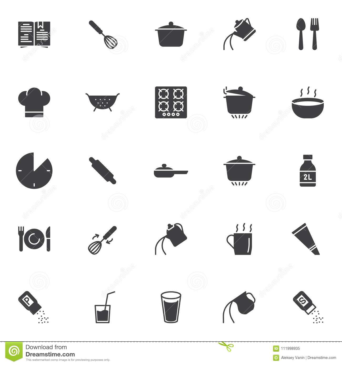 Cooking Instructions Vector Icons Set Stock Vector