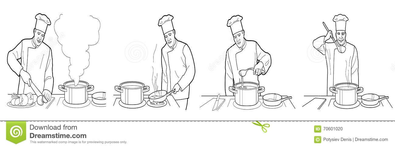 Cooking Process With Chef Figures At The Table In