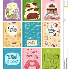 Best Kitchen Design Books Macy's Appliances Sale Cooking Recipe Cover Cards Template Hand Drawn Culinary Cookie Notes With Doodle