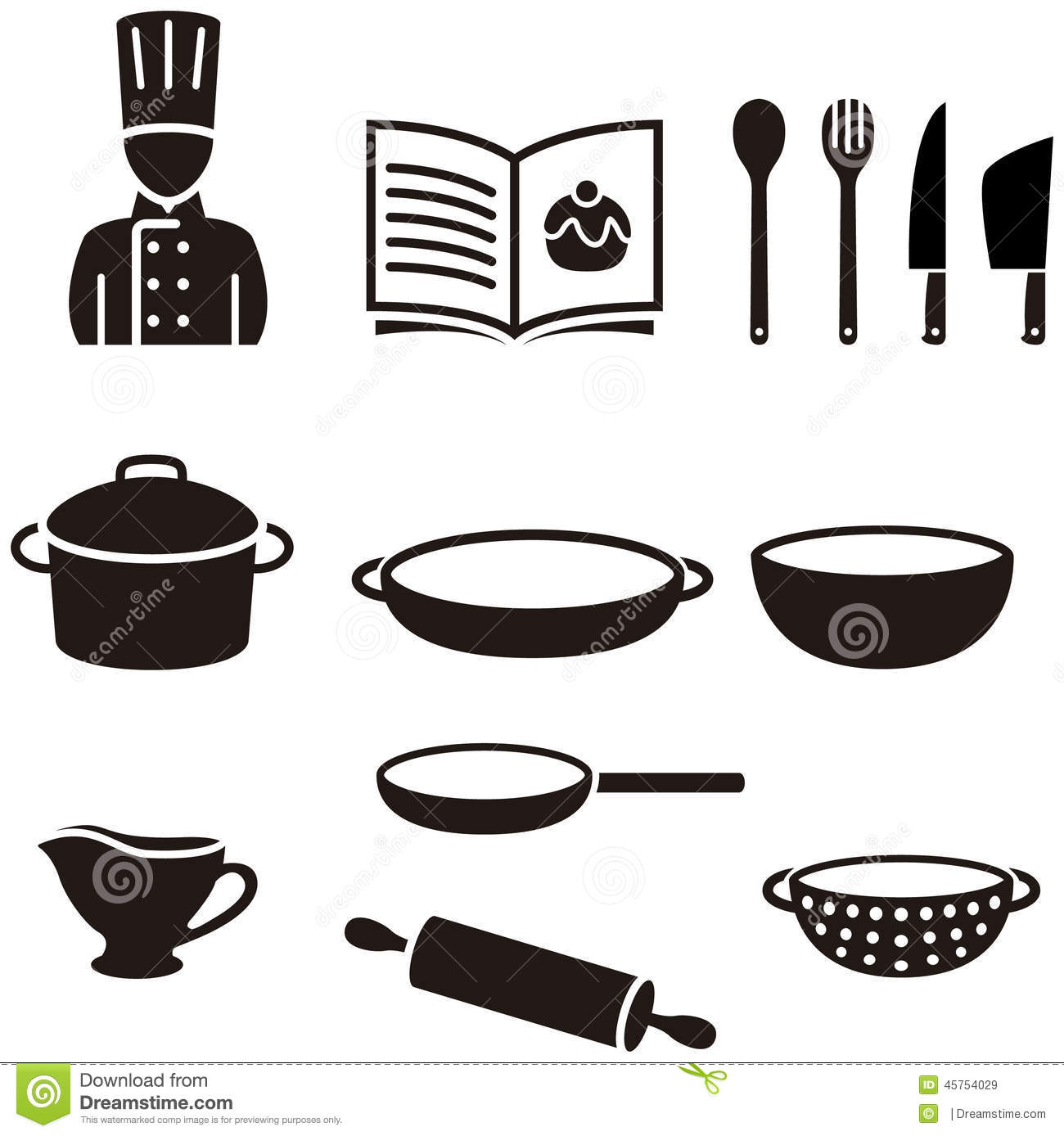 Cooking Symbols Stock Illustration Illustration Of Wooden