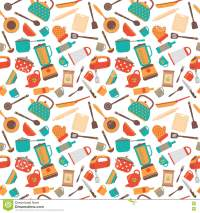 Cooking Utensils Background. Cute Seamless Pattern With ...