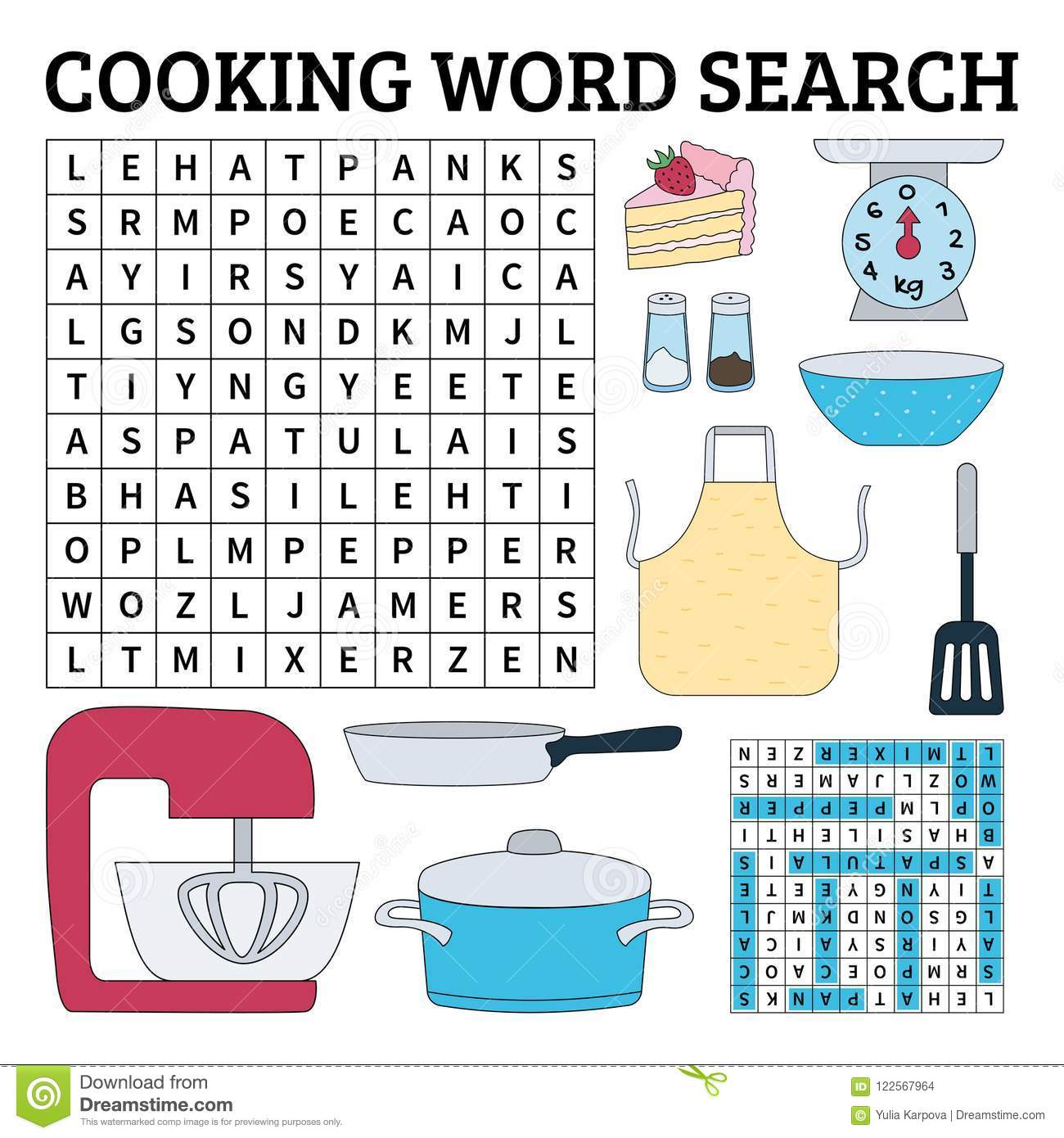 Cooking Word Search Game For Kids Vector Illustration For
