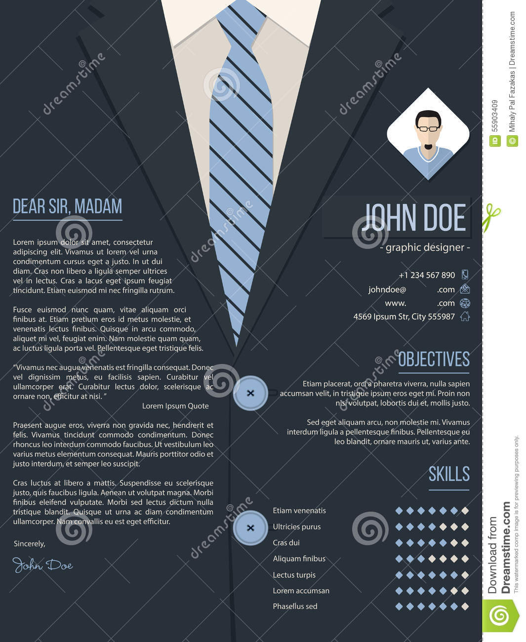 Cool Cover Letter Resume Template With Business Suit Background Stock Vector  Image 55903409