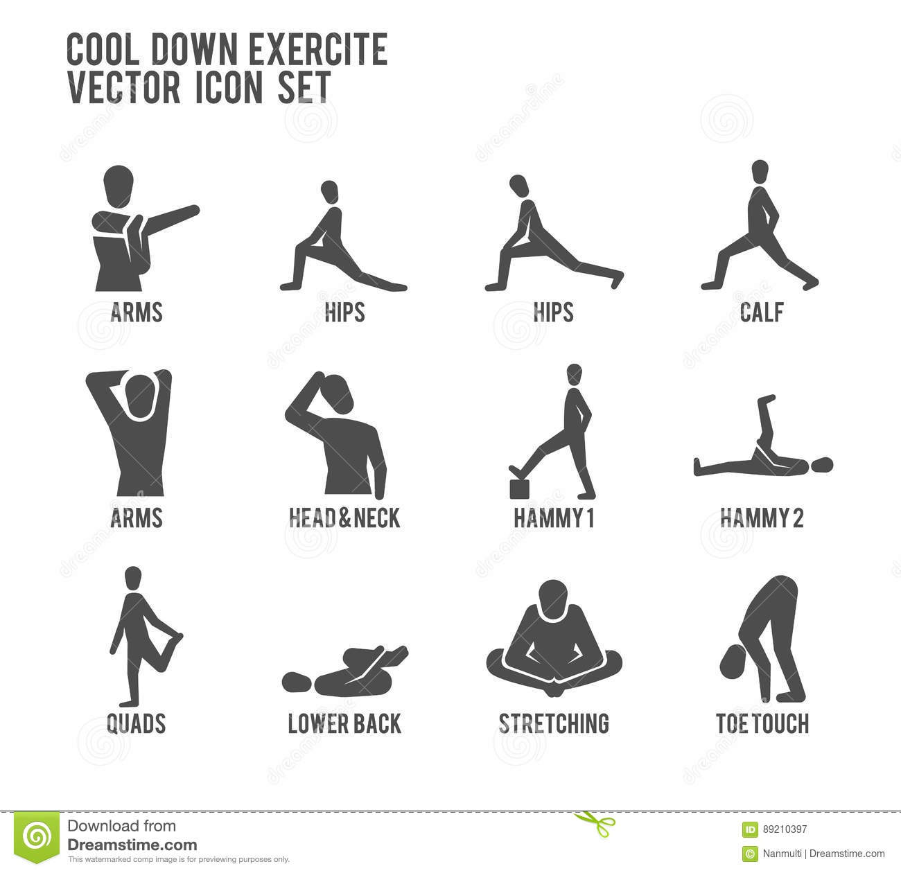 Cool Down Warm Up Exercise Stretching Workout Vector Icon