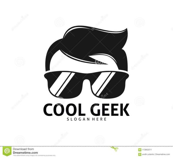 Cool Geek Guy Nerd Logo Design Stock Illustration