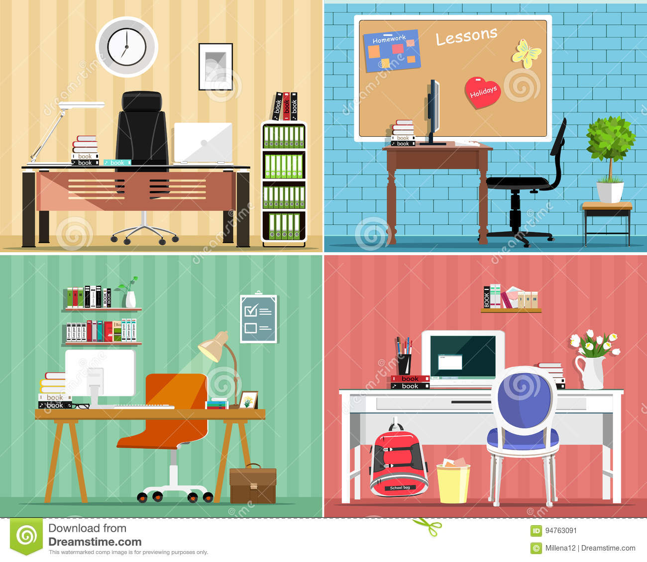 best desk chair for sciatica baby glider work cartoons, illustrations & vector stock images - 404706 pictures to download from ...