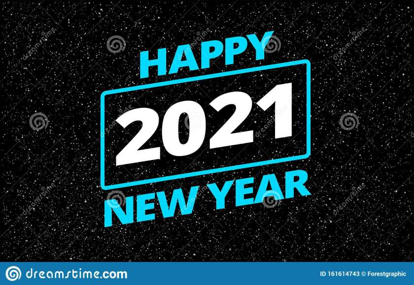 cool happy new year 2021 in star space wars style greeting