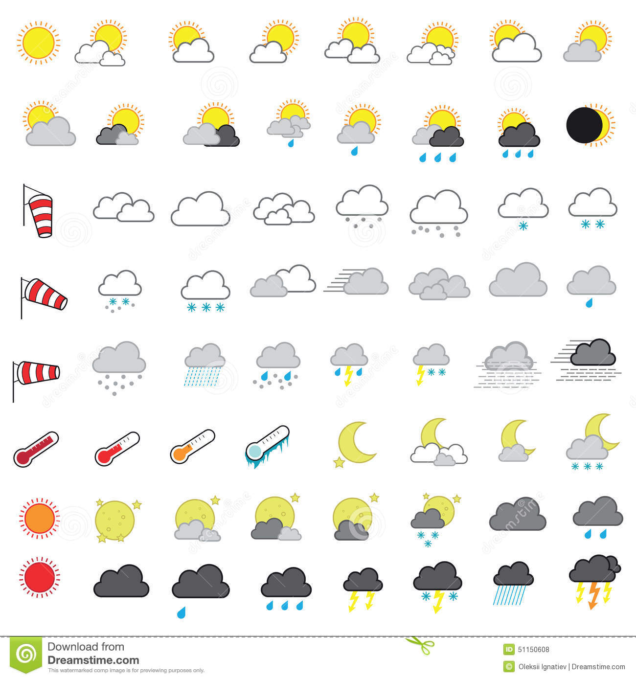Cool Looking Weather Forecasting Vector Icon Set Stock