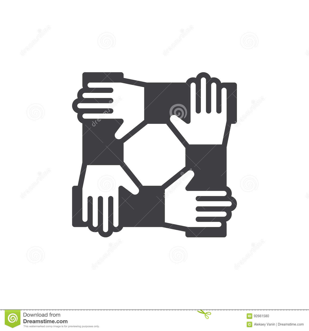 Teamwork Hands Logo Vector Illustration