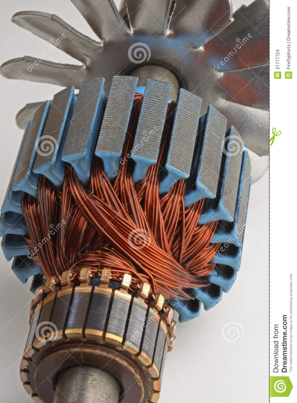 Copper Coils From Electric Motor Stock Photo