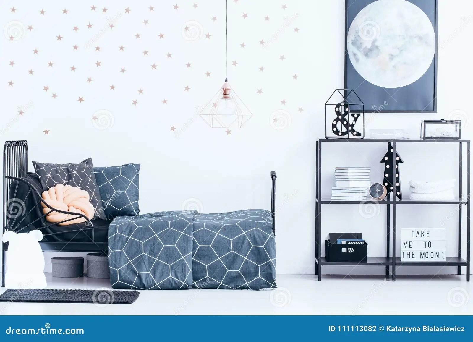Gold Wallpaper In Teenager`s Bedroom Stock Photo
