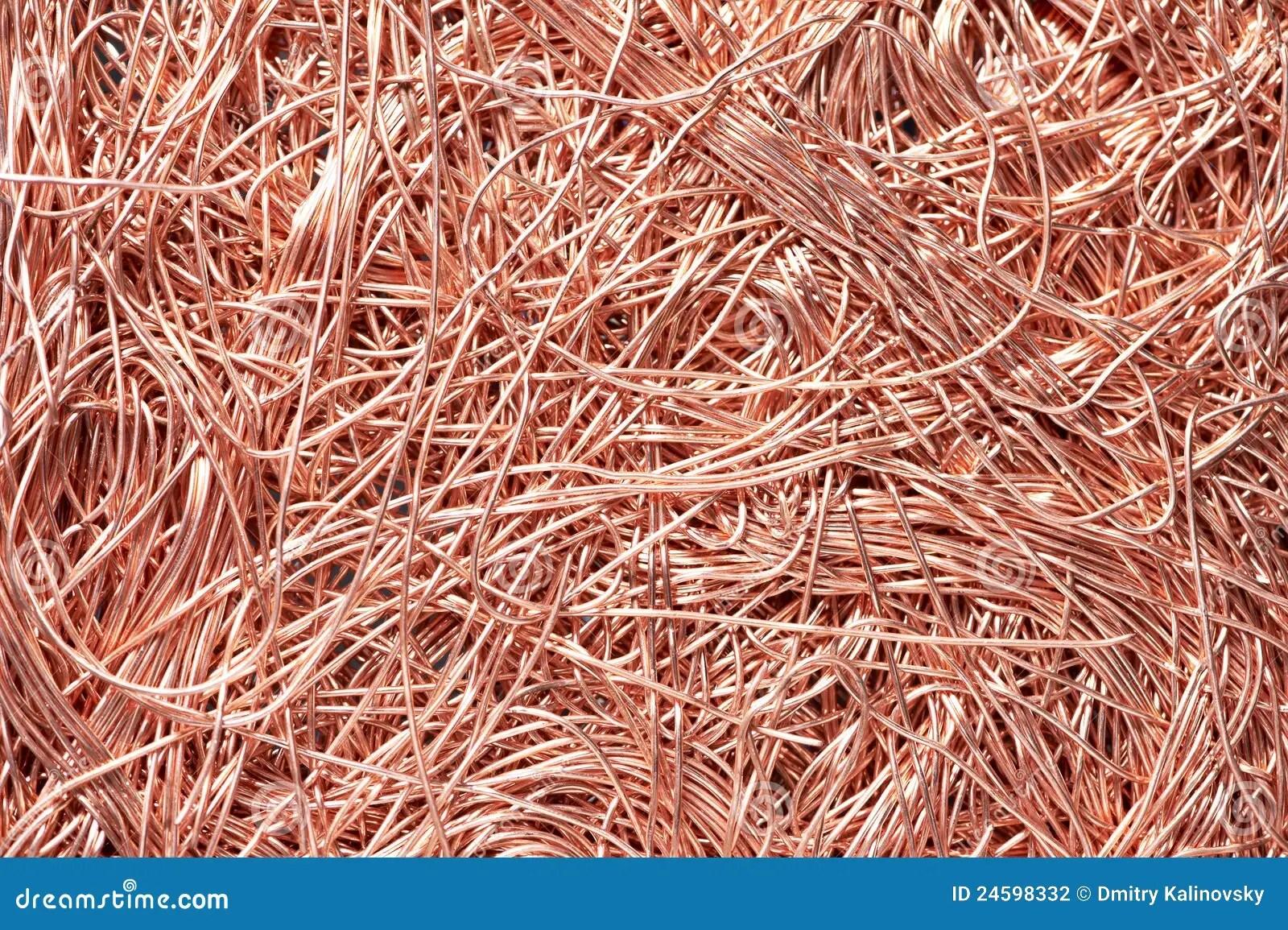 Copper Metal Scrap Materials Recycling Backround Stock