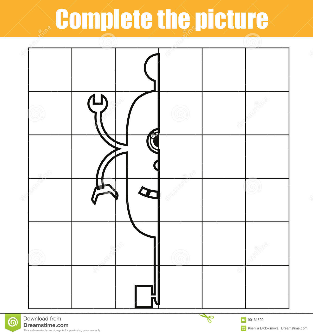 Copy By Grid Complete The Picture Children Educational