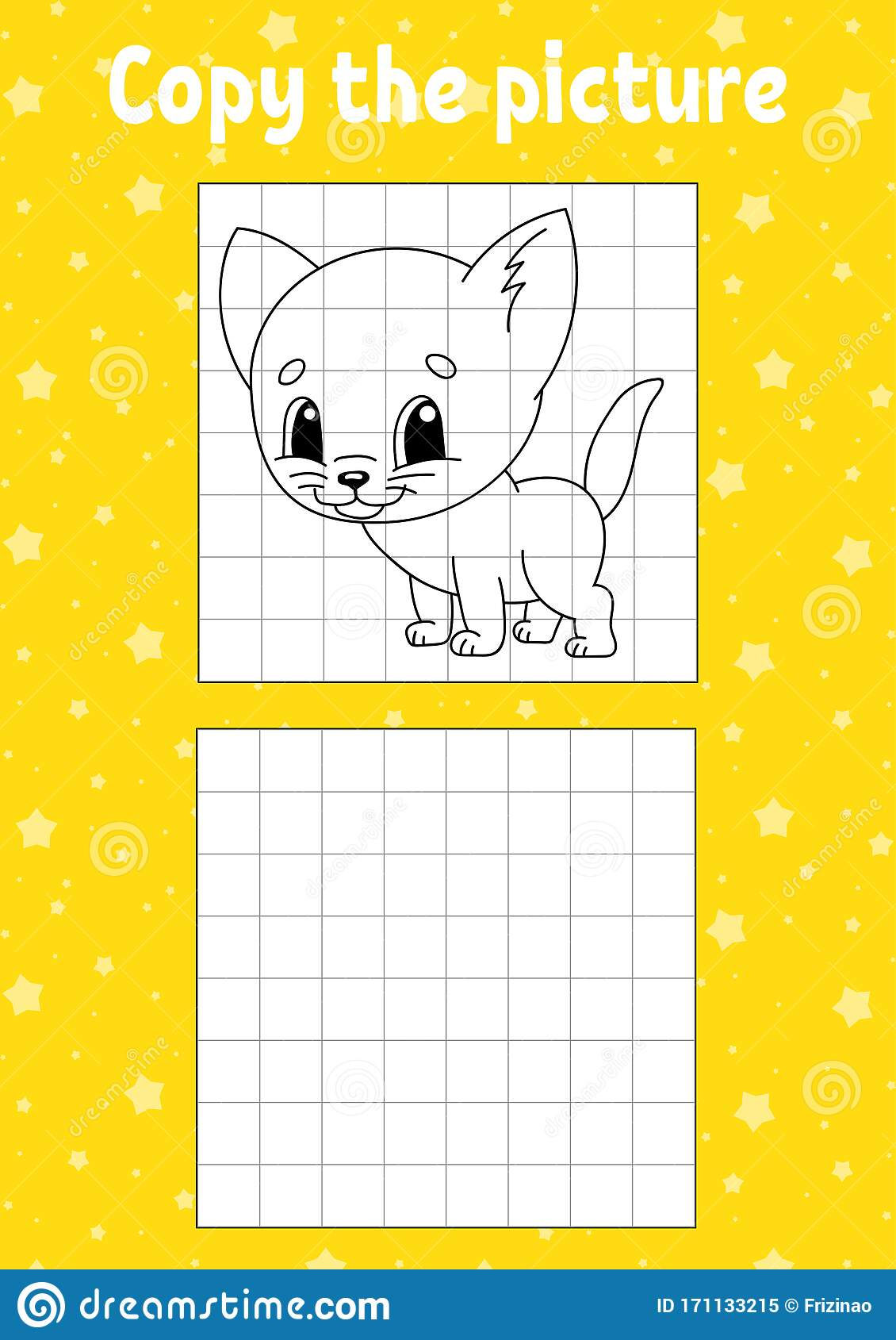 Copy The Picture Cat Animal Coloring Book Pages For Kids