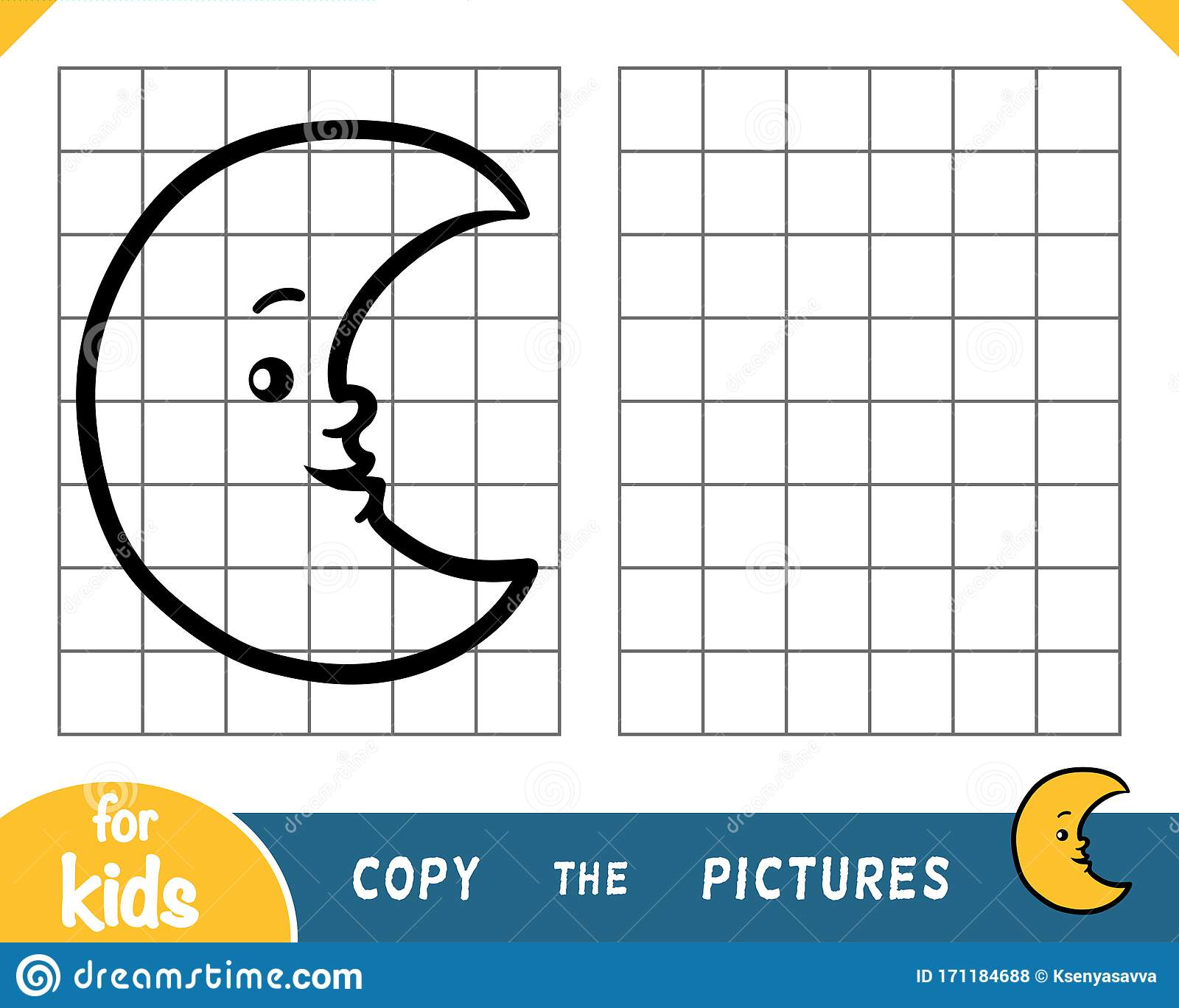 Copy The Picture Game For Children Crescent Stock Vector