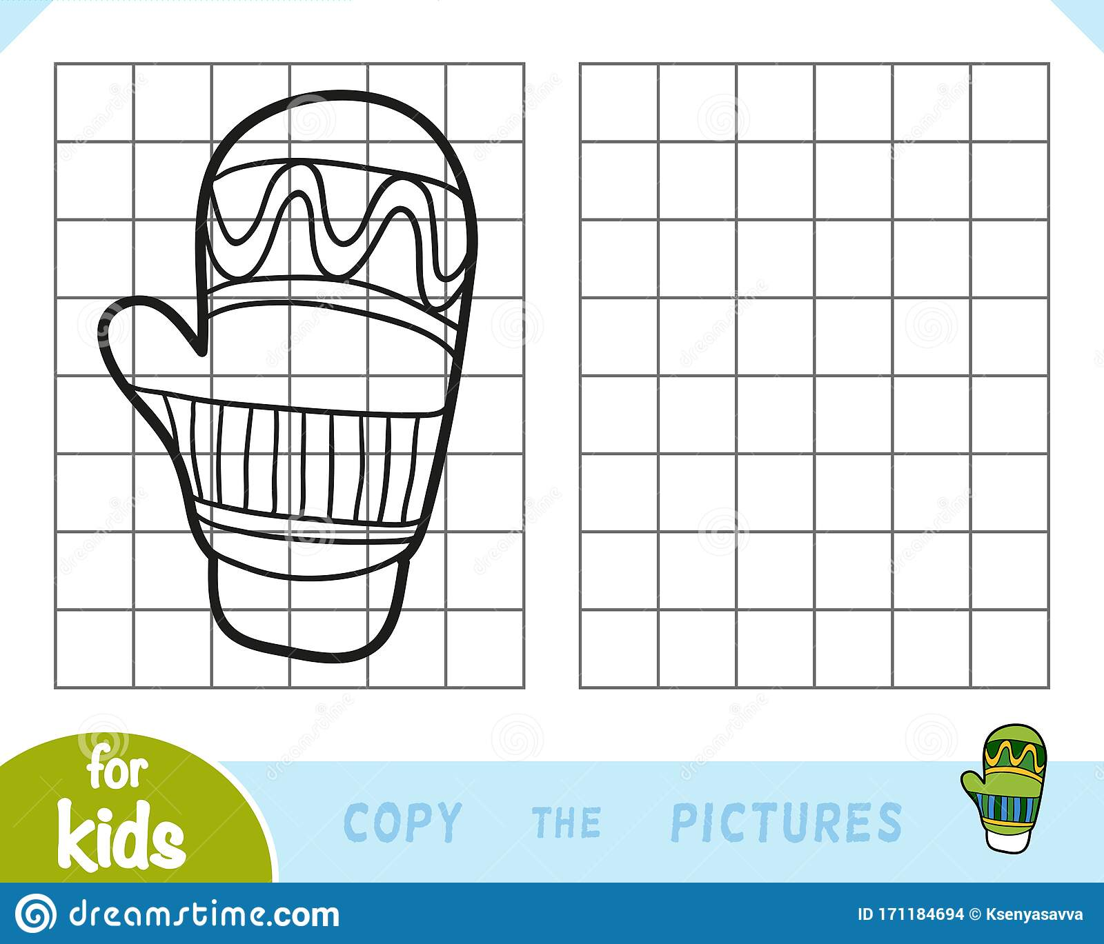 Copy The Picture Game For Children Mitten Stock Vector
