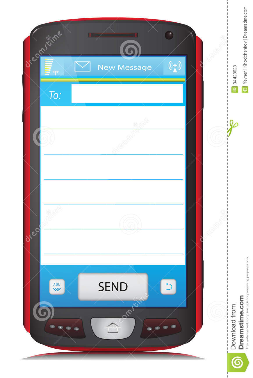 Copy Space For SMS Text On Touch Screen Phone Royalty Free