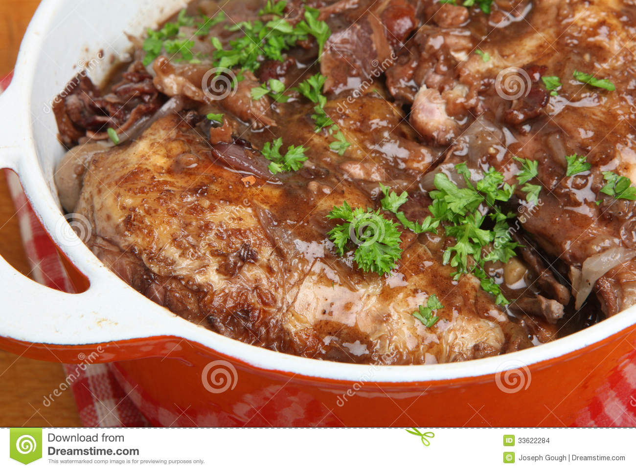 au vin traditional french recipe of chicken casseroled in red wine