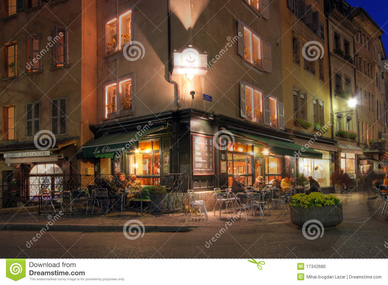outdoor bar table and chairs kids beach chair with adjustable umbrella corner coffee-shop in geneva, switzerland editorial image - image: 17342680